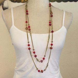 Vintage layered chain red sparkle bead necklace
